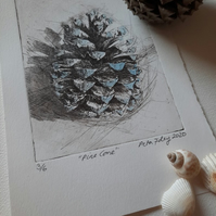 """Pine Cone"" Drypoint Print Limited Edition 3 of 6"