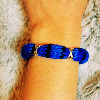 Blue Knitted Bracelet Cuff with Charms