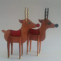 Handpainted wooden Reindeer (This item can be personalised)