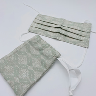 Face Mask With Nose Wire Filter Pocket Adjustable Ear Loops and Drawstring Bag