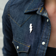 Sterling Silver Lightning Bolt Pin Badge