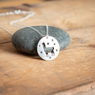 Sterling Silver Starry Llama Necklace