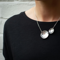 Textured Two Circles Necklace