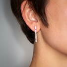 Lined Sterling Silver Bar Earrings