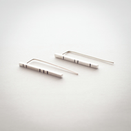 Lined Sterling Silver Bar Threader Earrings