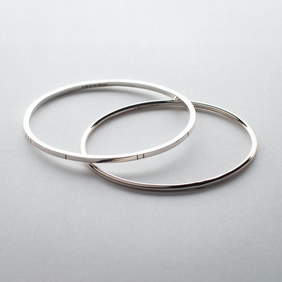 Oval Bangles Set, Hallmarked Sterling Silver