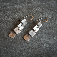 Oxidised Sterling Silver Squares Earrings