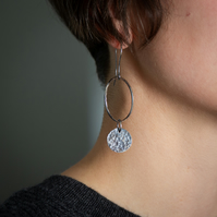Oxidised Sterling Silver Textured Circle Earrings