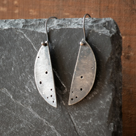Oxidised Sterling Silver Semi-Circle Earrings