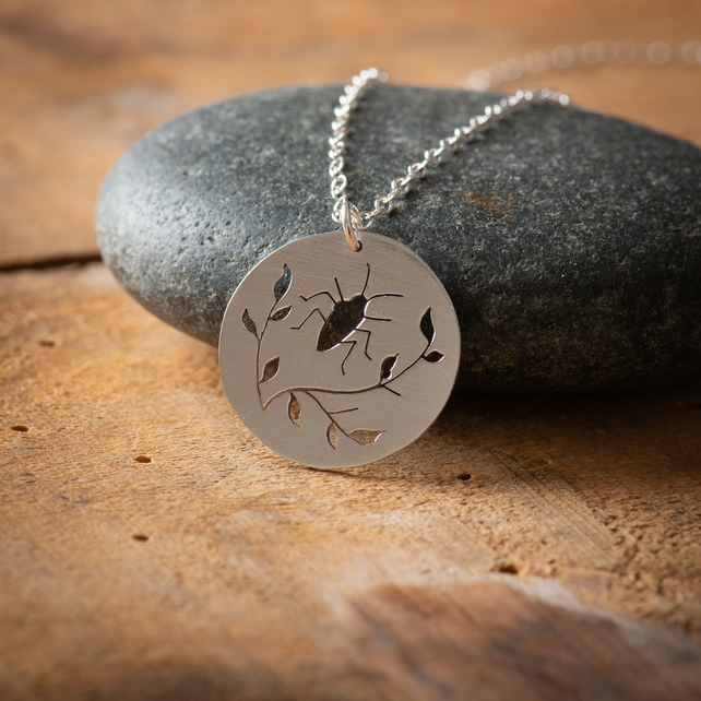 Sterling Silver Beetle and Branch Necklace
