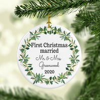 First Christmas Married Christmas Ornament, Green wreath design