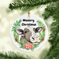 Cow Christmas Ornament, Cute cow Merry Christmas Ornament