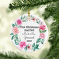 First Christmas Married Christmas Ornament, Pink wreath design