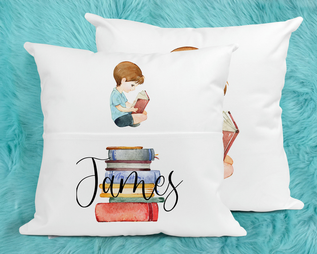 Boys Personalised Reading Pillow, Perfect for bedtime reading.
