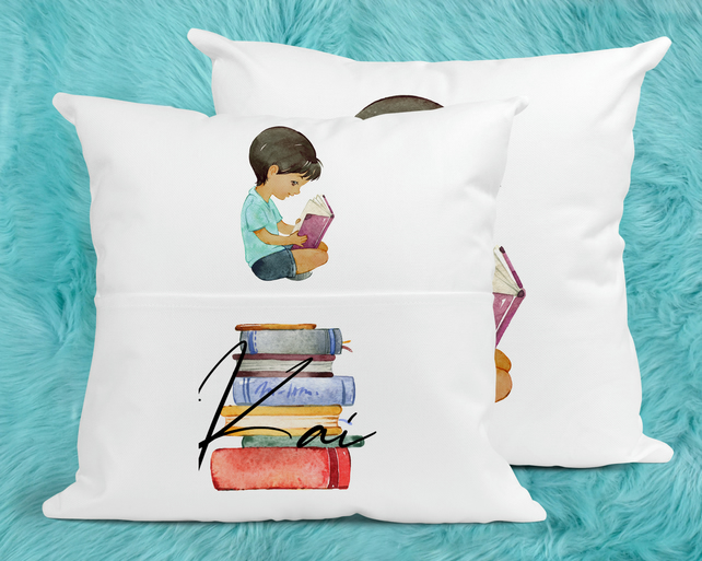 Boys Custom Reading Pillow, Perfect for bedtime reading.