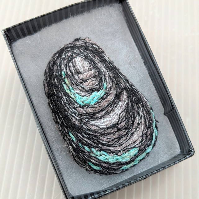 Embroidered Shell Brooch with Blue Green detail in gift box