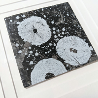 Sea Inspired Printed Recycled Textile Art in double mount