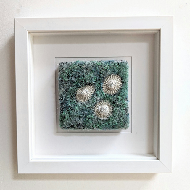 Blue Green Coastal inspired Textile Art