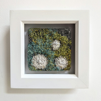 Square Coastal inspired Textile Mini Art in Green