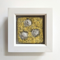 Square Coastal inspired Textile Mini Art in Yellow