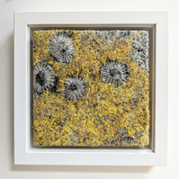 Golden Yellow Coastal inspired Textile Art