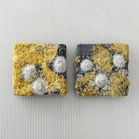 Yellow & Grey Coastal inspired Textile Mini Art