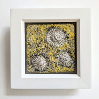 Bright Yellow Coastal inspired Textile Mini Art