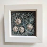 Sea-Foam Blue Coastal inspired Textile Mini Art
