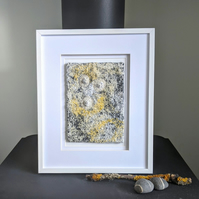 Coastal inspired Textile Art in Yellow & White