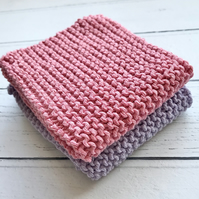 Eco Friendly Reusable Knitted 100% recycled Cotton wash Dish Cloth set of 2