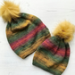 Adult & Child Matching Knitted Slouchy Style Beanie Winter Hats Fluffy Pompom