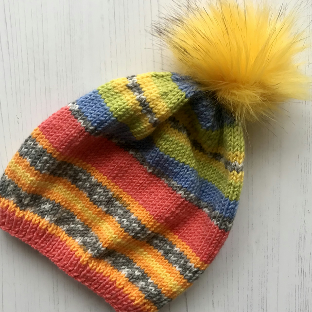Childs Knitted Slouchy Beanie Hat Bright Multicoloured  Vegan NO WOOL