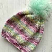 Childs Knitted Beanie Hat Pastel Glitter NO WOOL (matching adult hat available )