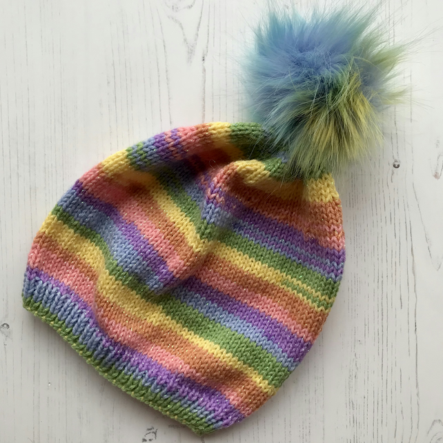 Childs Knitted Beanie Hat Candy Glittery NO WOOL (matching adult hat available )