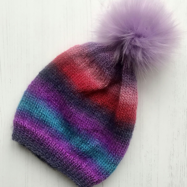 Child's Knitted Slouchy Beanie Hat Multicoloured Lilac Ombre Striped 30% Wool