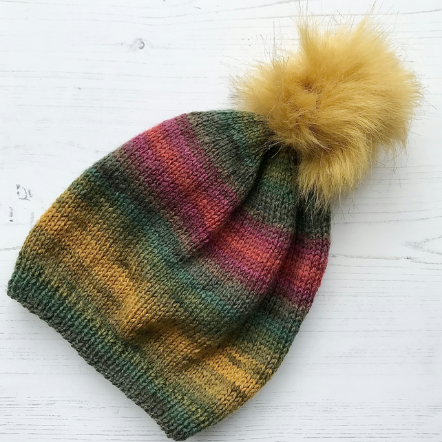 Childs Knitted Beanie Hat Mustard 30% Wool ( matching adult hat available )