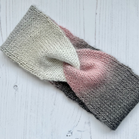REDUCED Adults Hand Knitted Twist Front Headband Vegan Shimmer Cream Pink
