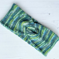 Adults Hand Knitted Twist Front Headband 20% Wool  Multicoloured Greens
