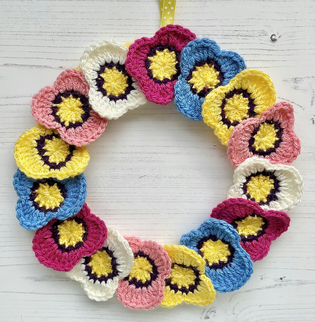 Crochet Spring Flower Wreath Pansy Multicoloured  Bright Vegan Wool Free