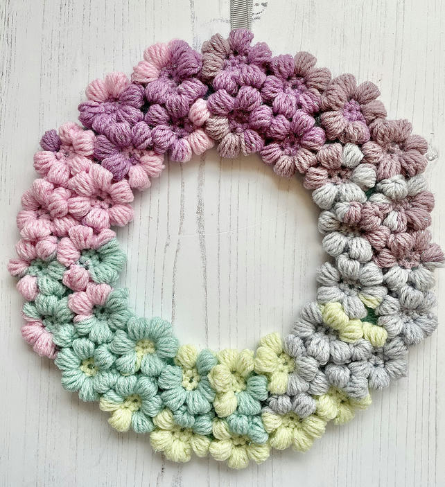 Crochet Floral Wreath Hanging Decoration Colourful Spring Pastel  Wool Free