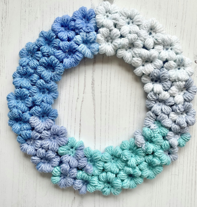 Crochet Floral Wreath Hanging Decoration Colourful Spring Blues Vegan