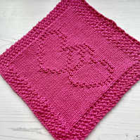 Wash Cloth 100% Supersoft Cotton Eco Friendly Reusable Knitted Heart Hot Pink