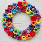 Crochet Floral Wreath Hanging Decoration Colourful Bright Neon  Rainbow Vegan