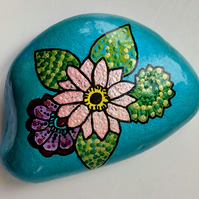 Painted Flower Stone
