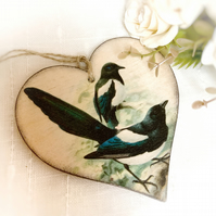 Vintage Magpies Illustration Hanging Heart Decoration, Bird Lovers Gift