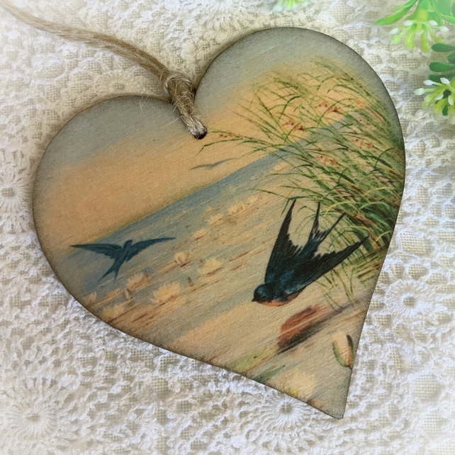 Handmade Wooden Swallows Decoration, Swallow Bird Decoration, Nature Gift