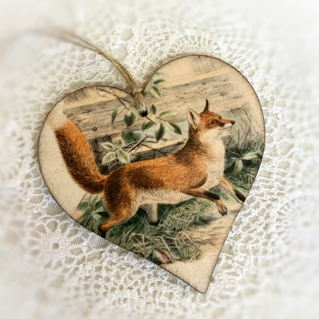 Handsome fox decoration, Handmade vintage fox decoration, Fox gift, Fox design