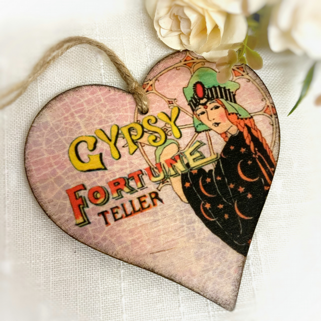 Fortune Teller Heart Decoration, Vintage Gypsy Decoration,Bohemian Gift