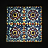 Mexican Tile Coasters (Hawk Eye) set of 4