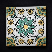 Mexican Tile Coaster (Honeydew)
